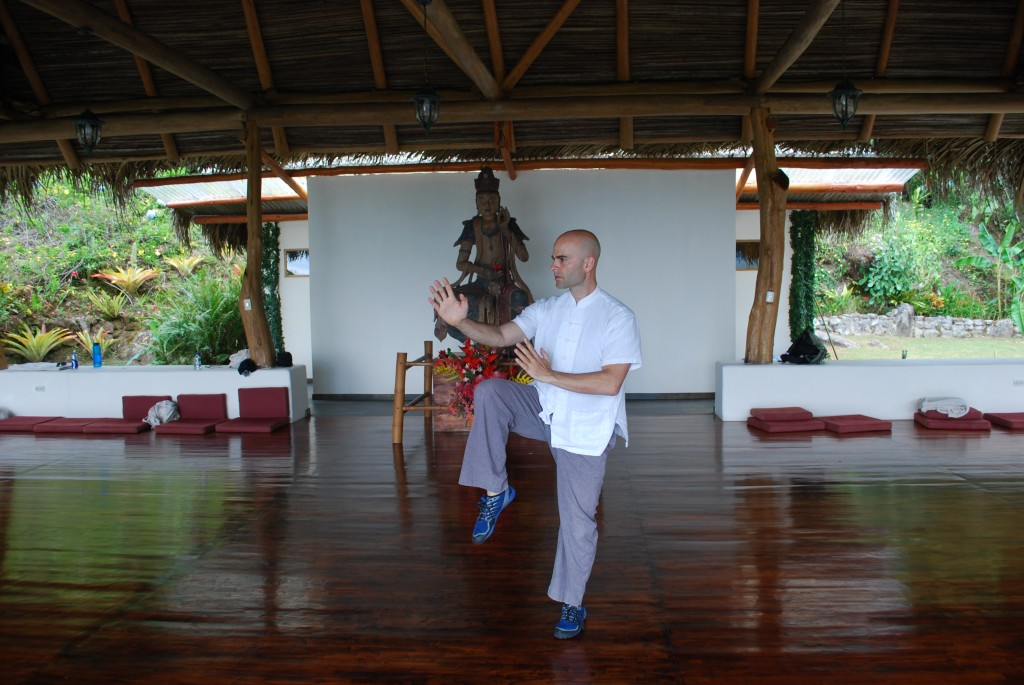 Sifu Anthony performing Golden Rooster Standing Tall at the retreat center in Costa Rica.